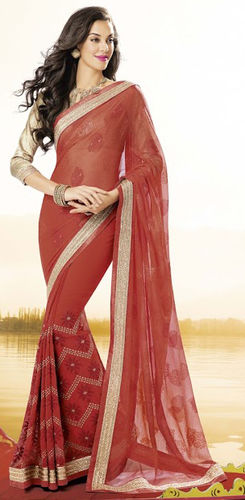 Coral Faux Chiffon And Georgette Saree