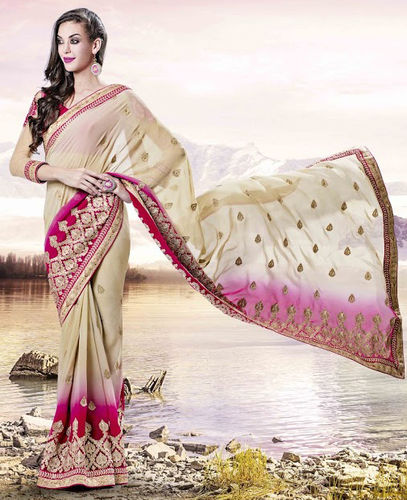 Beige And Fuchsia Faux Georgette Saree