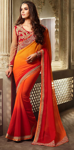Orange And Rust Faux Georgette Saree
