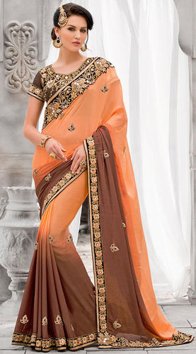 Peach And Brown Faux Georgette Saree