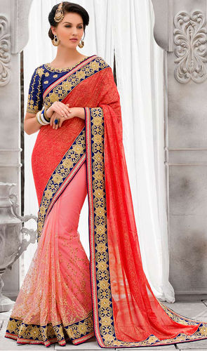Rust Pink Shimmer Faux Georgette & Net Saree