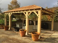5.0m x 3.0m Green English Oak Framed Gazebo