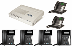 4 line Small Business Telephone System Package with 2x KS07 20 phone & 4x XL220 Orchid phones