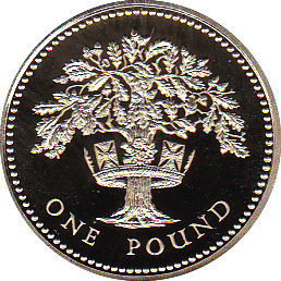 1992 ONE POUND PROOF ENGLISH OAK