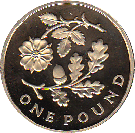2013 ONE POUND PROOF FLORAL ENGLAND
