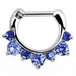 Septum clicker with seven blue gems - 1.2mm x 6mm or 8mm
