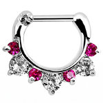 Septum clicker with seven pink and clear gems - 1.2mm x 8mm