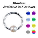 Titanium bcr ball closure ring with faux pearl - 1.2mm