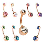 Rose gold PVD navel bar double jewelled  - 1.6mm 14g