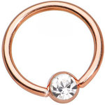 Rose gold PVD Gem BCR ball closure ring - 1.2mm 16g