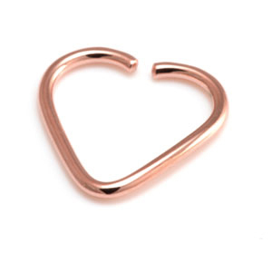 Rose gold PVD Steel Heart Ring Easy fit- 16g 18g and 20g