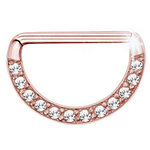 Rose gold nipple clicker with 12 crystals- PVD on steel - 14g