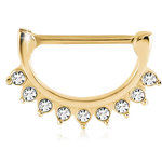 Gold nipple clicker with 9 Swarovski crystals PVD on steel- 14g