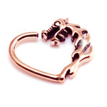 Rose gold dragon heart daith ring PVD on steel - 16g