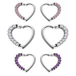 Daith heart ring with Pavé gems in steel- 16g - choice of colours