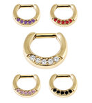 Gold septum clicker with 5 Swarovski crystals - PVD on steel - 16g