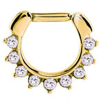 Gold septum clicker with 9 Swarovski crystals - PVD on steel - 16g