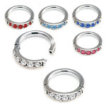 Helix piercing hinged ring with pave gems in steel- 16g