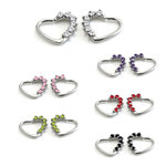 Daith heart ring with gems in steel- 16g - choice of colours