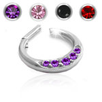 Septum clicker with five gem crystals - 16g - 6mm or 8mm