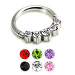 Hinged segment ring with five gems in steel - 16g