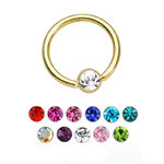 Gold PVD Gem BCR ball closure ring - 16g