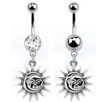 Sun and moon dangle navel belly bar - 14g x 10mm