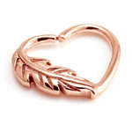 Rose gold feather heart ring - daith piercing - 16g
