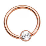 Rose gold gem ball closure ring - 14g