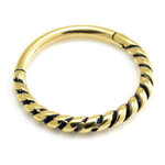24K Gold rope twist conch ring on steel - 14g