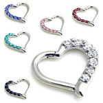 Heart shape hinged ring with crystals in steel - 16g