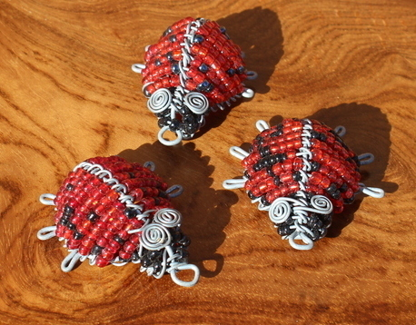 Beaded ladybirds set of 3