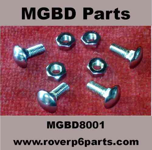 4 CHROMED BUMPER BOLTS FOR MORRIS 8, COMPLETE WITH NUTS
