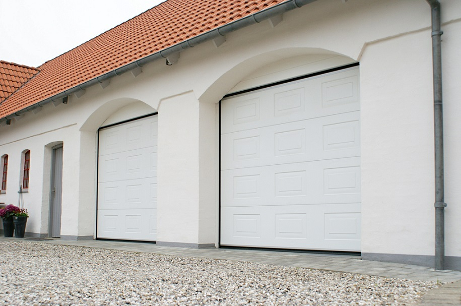 Alutech insulated sectional door painted white
