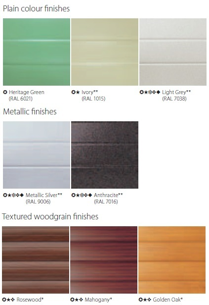 Seceuroglide Colour Chart - Heritage and Woodgrain Finishes
