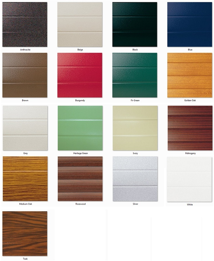 Seceuroglide garage door colour chart