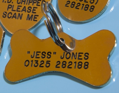 BONE Shaped Identification Tags - Available in Brass & Silver Nicron