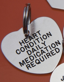 HEART Shaped Identification Tags - Available in Brass & Silver Nicron
