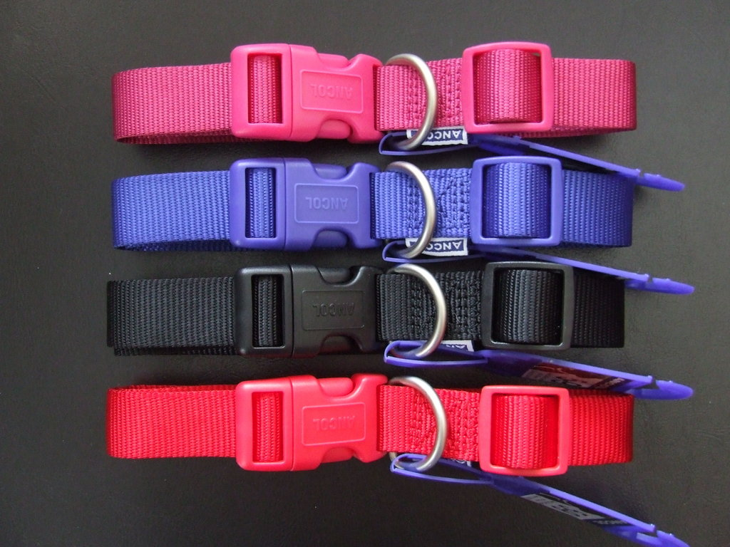 ANCOL - Plain Nylon Clip Collars with Deluxe Satin Finish Fixings