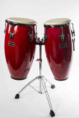 Pair Conga  with High Grade Chrome Stand - Red Wine, with bags