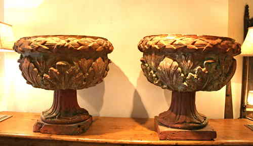 Pair terracotta planters -   SOLD