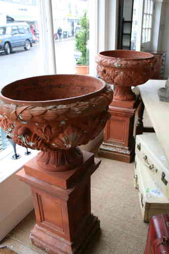 Pair huge terracotta urns - stamped Bridgewater Trading Co SOLD