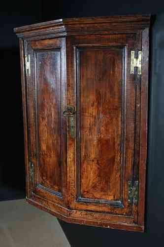 Antique Elm Corner Cupboard