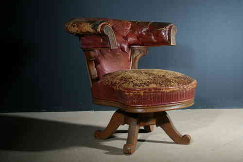 Very Large Antique 19th Century Revolving Leather Library Chair