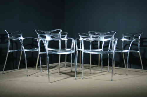 Set of Six Cast Aluminium Dining Chairs SOLD