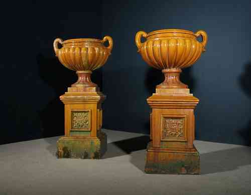 Pair of Large Glazed Victorian Urns SOLD