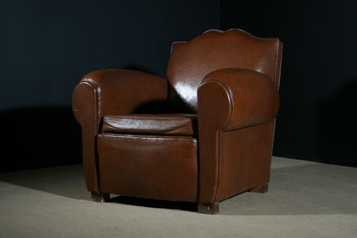 French Leather Moustache Back Club Chair SOLD