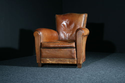 French Leather Club Chair SOLD