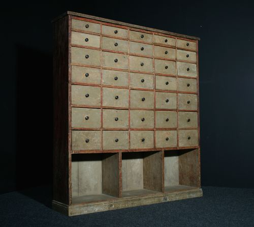 Large Bank of Drawers in Original Paint SOLD