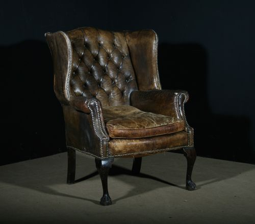 Large Leather Wing Back Chair SOLD